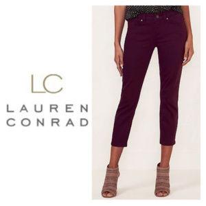 LC Lauren Conrad Skinny Capri Jeans Red Wine Sz 6